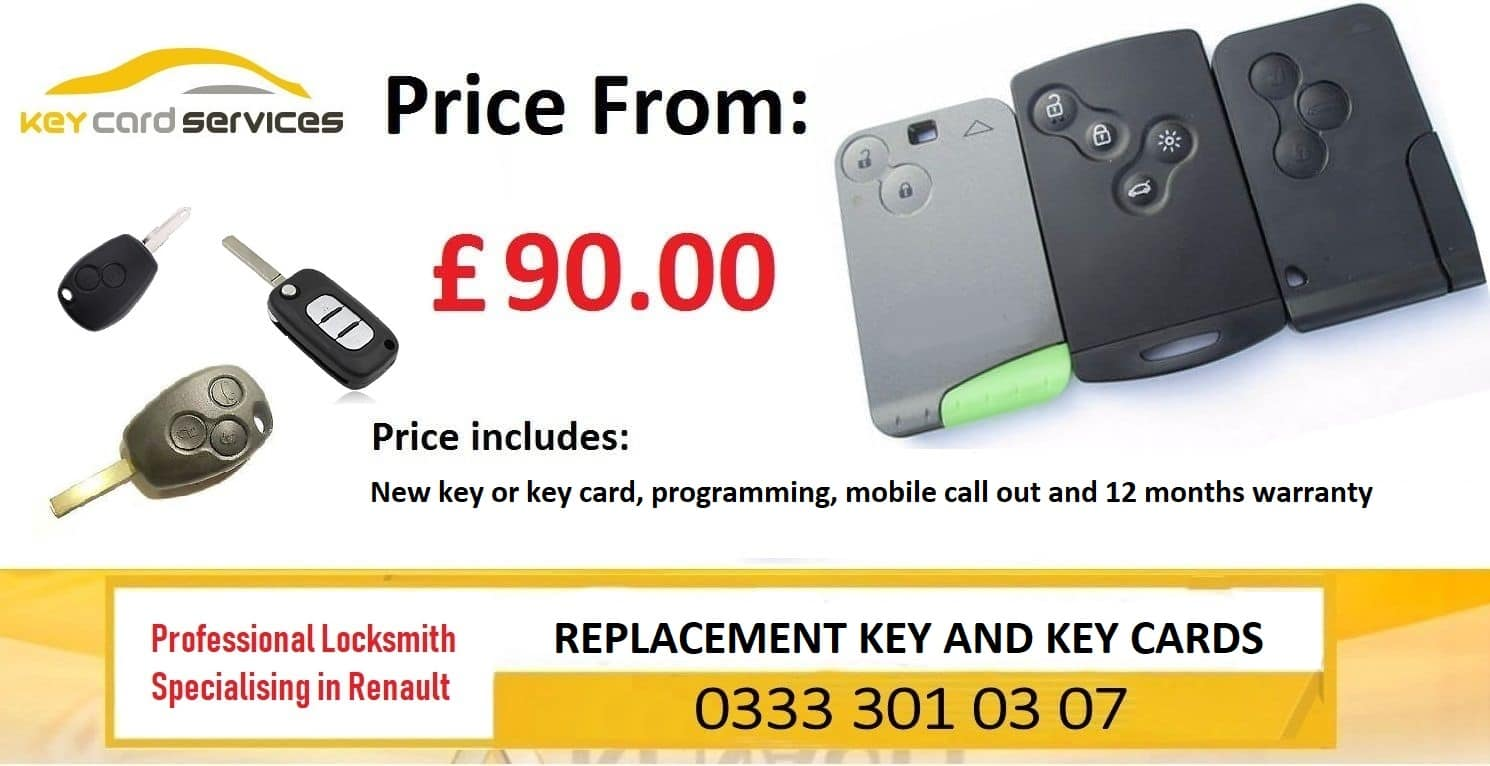 Renault Key Card Replacement - Megane , Scenic , Laguna, Clio